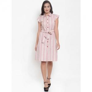 Purple State Women White & Pink Striped Shirt Dress