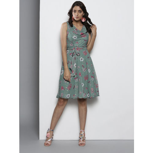 DOROTHY PERKINS Women Petite Green & Pink Printed Fit and Flare Dress