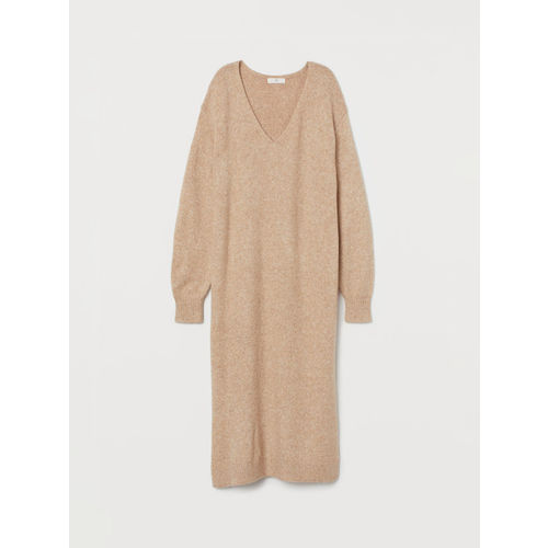 H&M Women Beige Solid Knitted Dress
