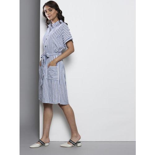 DOROTHY PERKINS Women Blue & White Striped Shirt Dress With Belt