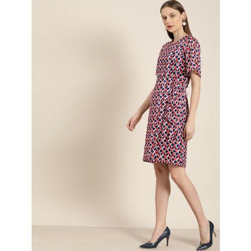 her by invictus Women Navy Blue Printed Sheath Waist Tie-Up Dress