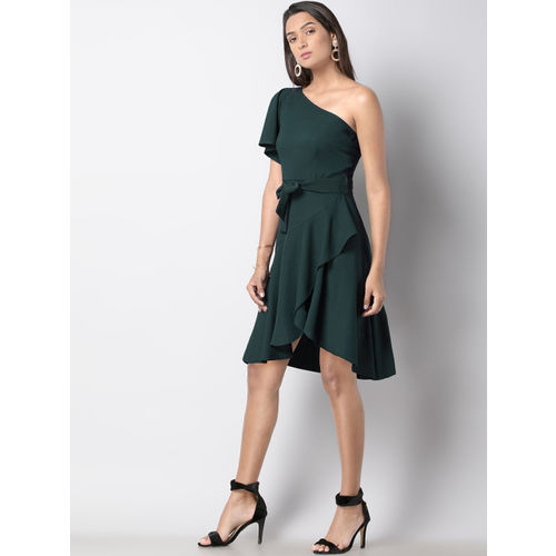 FabAlley Women Green Solid Fit and Flare Dress