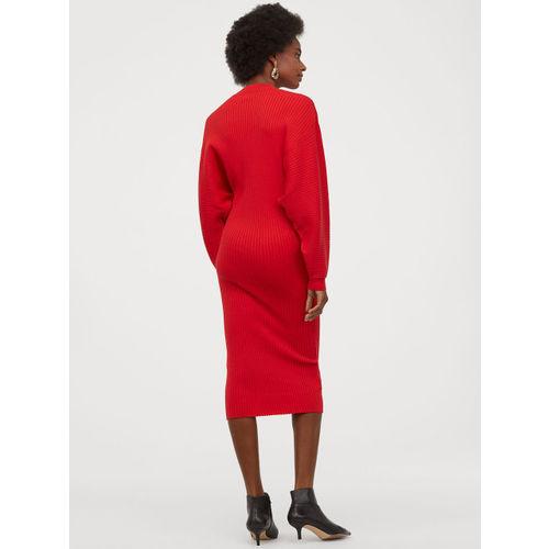 H&M Women Red Solid Rib-Knit Dress