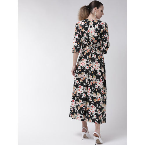 U&F Women Black & White Floral Print Maxi Dress