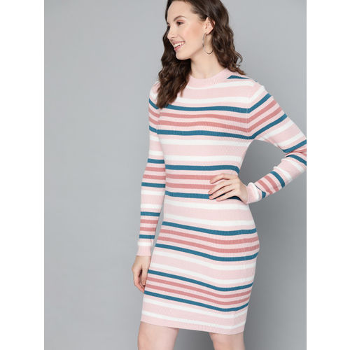 Mast & Harbour Women Peach-Coloured & Teal Blue Striped Sweater Dress