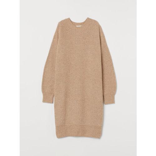 H&M Beige Sweater Rib-Knit Dress