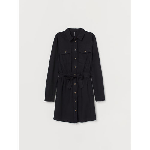 H&M Women Black Solid Cotton Utility Dress