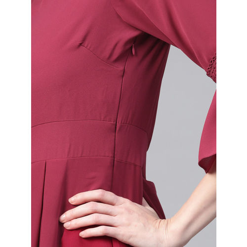 Athena Women Maroon Solid A-Line Dress