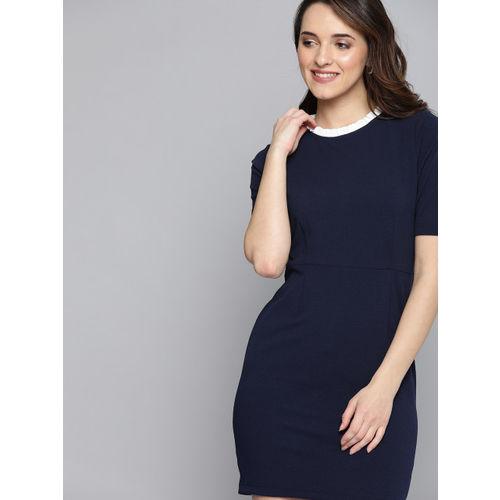 Mast & Harbour Women Navy Blue Solid Sheath Dress