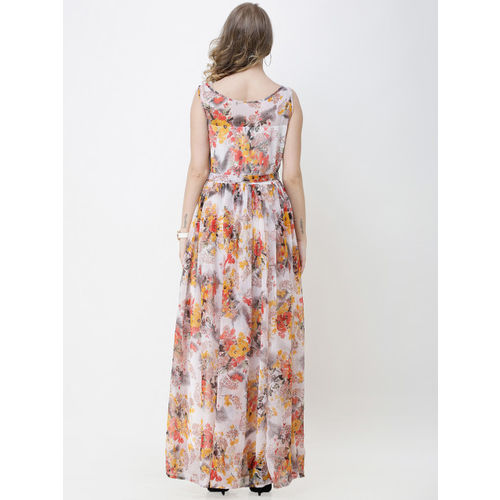 SCORPIUS Women White Printed Maxi Dress