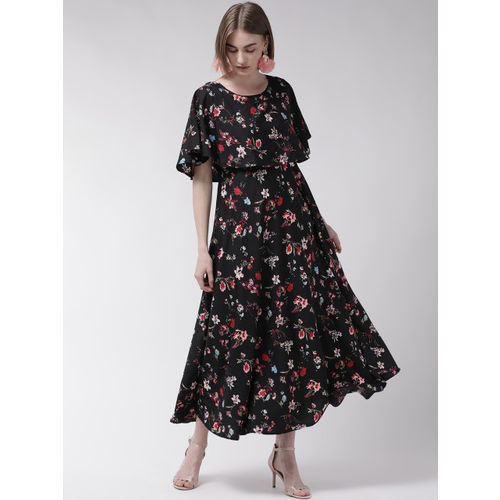 U&F Women Black & Red Floral Print Maxi Dress