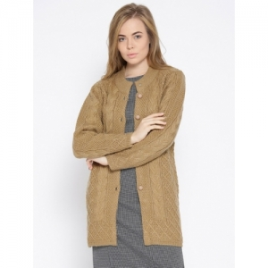 CAYMAN Tan Wool Solid Cardigan