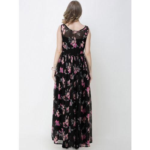 SCORPIUS Women Black Printed Maxi Dress