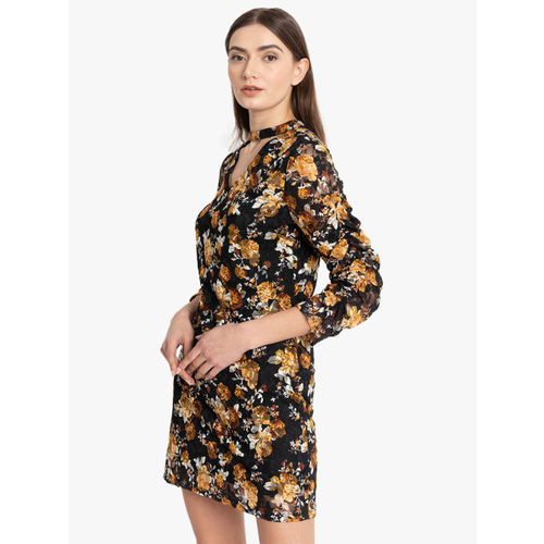 Kazo Women Black & Orange Floral Printed Sheath Dress