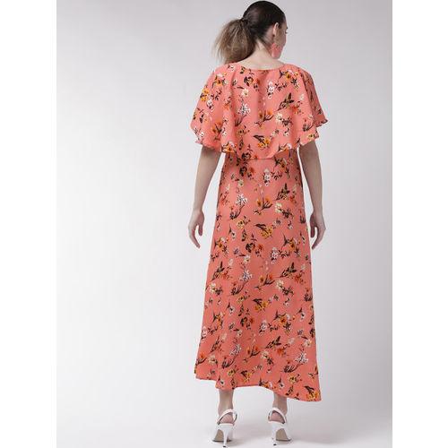 U&F Women Peach-Coloured & Coffee Brown Floral Print Maxi Dress