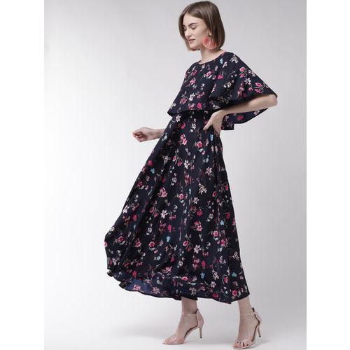 U&F Women Navy Blue & Pink Printed Layered Maxi Dress