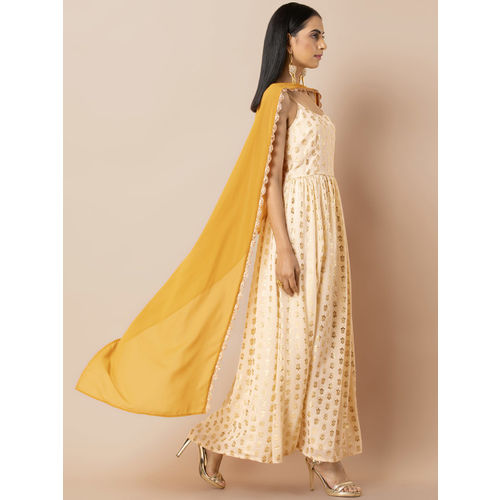 INDYA Women Cream-Coloured & Golden Printed Maxi Dress with Attached Dupatta
