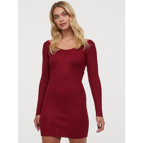 H&M Women Red Ribbed Dress