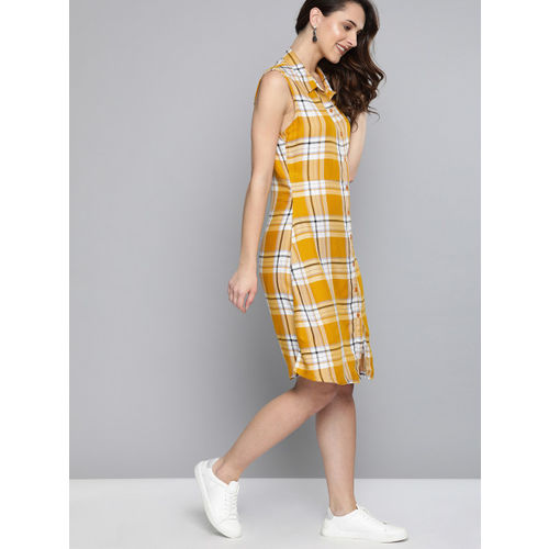 HERE&NOW Women Yellow & White Checked A-Line Dress