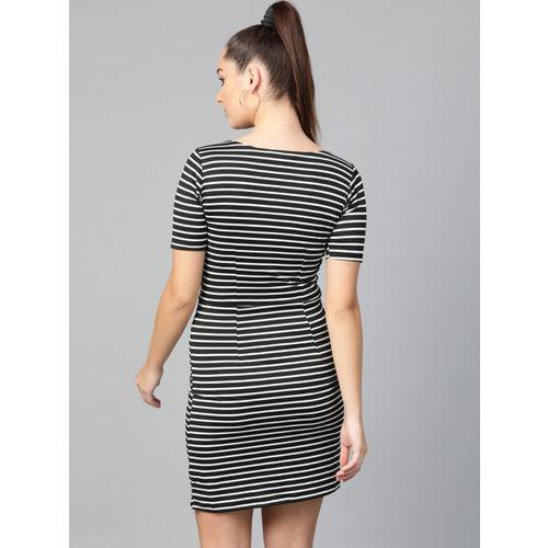 Zima Leto Women Black & White Striped Bodycon Dress