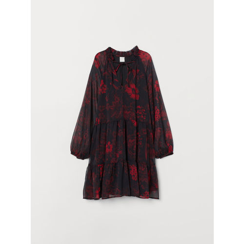 H&M Women Black & Red Balloon-Sleeved Dress