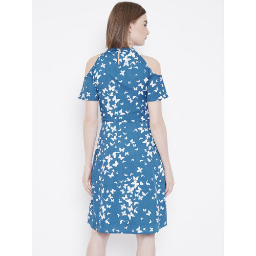 Deewa Women Blue & White Printed Cold-Shoulder A-Line Dress