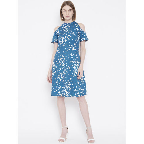 Deewa Women Blue & White Printed Cold-Shoulder A-Line Dress