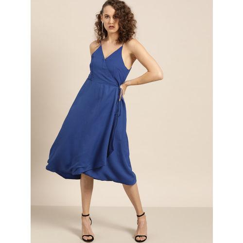 Moda Rapido Women Navy Blue Solid Wrap Dress