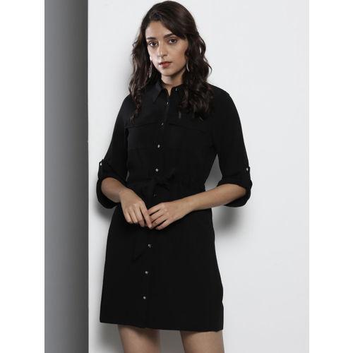 DOROTHY PERKINS Women Petite Black Solid Shirt Dress