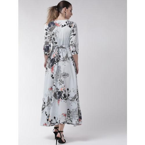U&F Women Blue Printed Maxi Dress