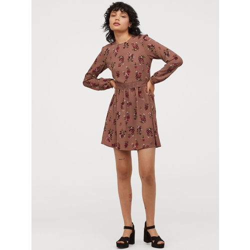 H&M Women Pink Printed Dress With Lace Trims