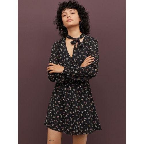 H&M Women Black & Pink Printed Dress With Ties