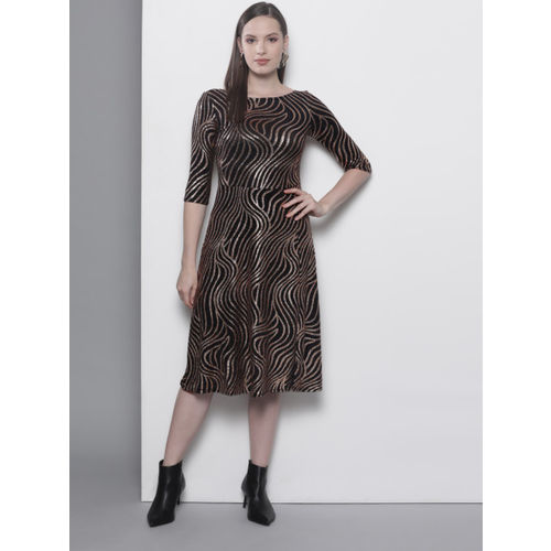 DOROTHY PERKINS Women Black & Golden Printed Fit and Flare Dress