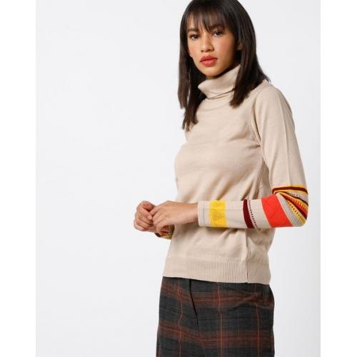 AJIO Beige Acrylic Turtle-Neck Sweater with Contrast Stripes