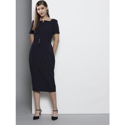 DOROTHY PERKINS Women Navy Blue Solid Sheath Dress