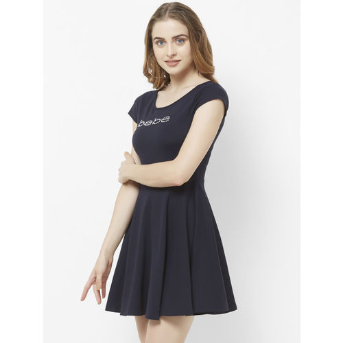 bebe Women Blue Solid Fit and Flare Dress