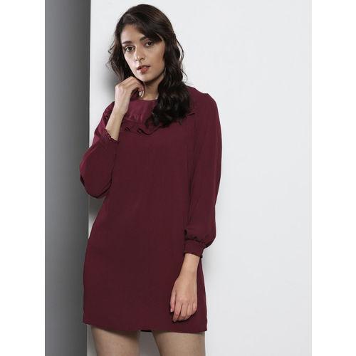 DOROTHY PERKINS Women Petite Burgundy Solid Shift Dress