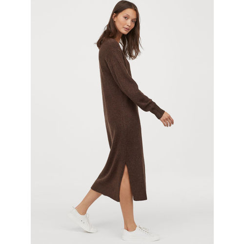 H&M Women Brown Solid Knitted Dress