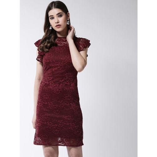 MAGRE Women Maroon Self Design Sheath Dress