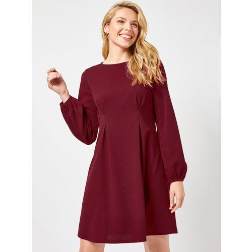 DOROTHY PERKINS Women Maroon Solid A-Line Dress