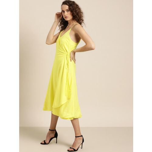 Moda Rapido Women Yellow Self Design Wrap Dress