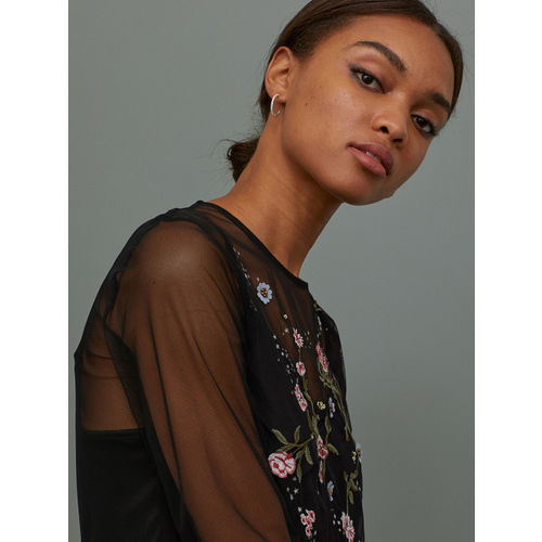 H&M Women Black Tulle Dress With Embroidery