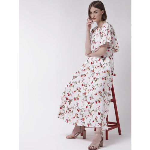 U&F Women White & Red Floral Print Maxi Dress