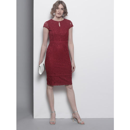 DOROTHY PERKINS Women Maroon Lace Sheath Dress