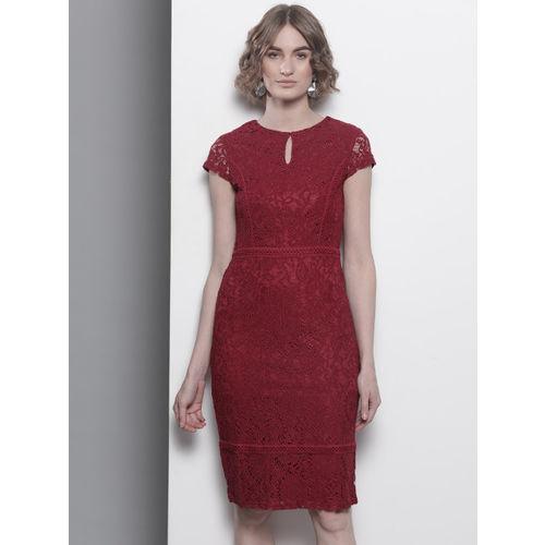 DOROTHY PERKINS Women Maroon Lace Sheath Dress