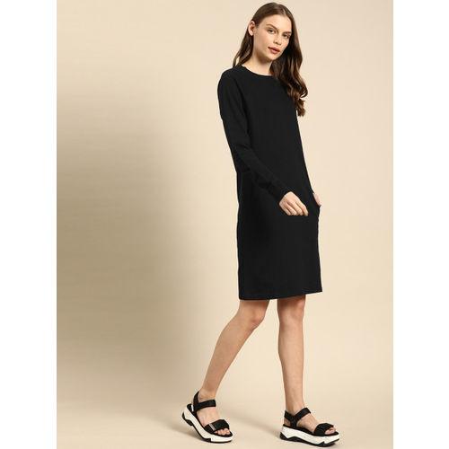ether Women Black Solid T-shirt Dress