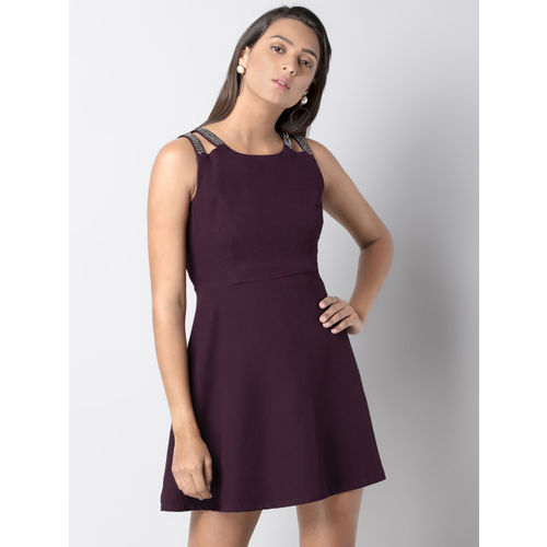 FabAlley Women Maroon Solid Fit and Flare Dress
