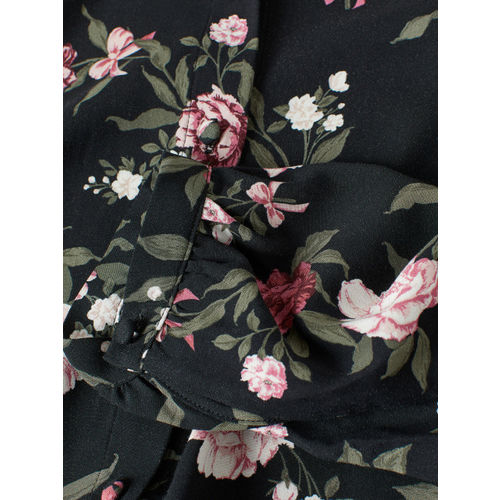 H&M Women Black & Pink Dress With A Stand-up Collar