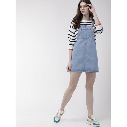 FOREVER 21 Women Blue Solid Denim Pinafore Dress