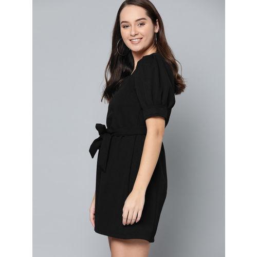 Mast & Harbour Women Black Self-Design A-Line Dress